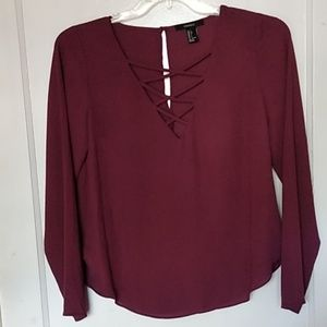 FOR EVER 21 V NECK LONG SLEEVE TOP